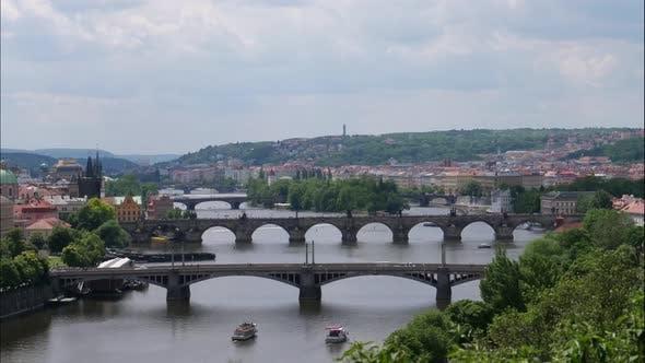Thumbnail for Vltava River time lapse seen from Letna Park