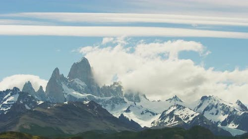 Scenic View of El Chalten Mountains Argentina in Timelapse