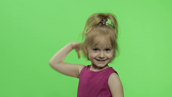 Thumbnail for Girl Child in Purple Dress Waving with Hands. Make Faces and Smile. Chroma Key
