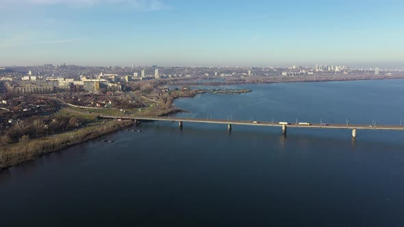 Thumbnail for Aerial View of the Central Business Part of the City of Dnipro. Cars Go To the South Bridge
