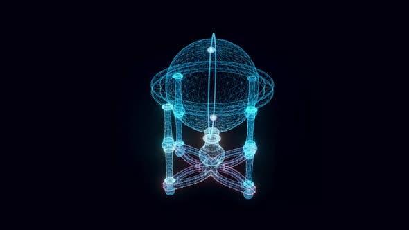 Cradle Globe Hologram Rotating 4k