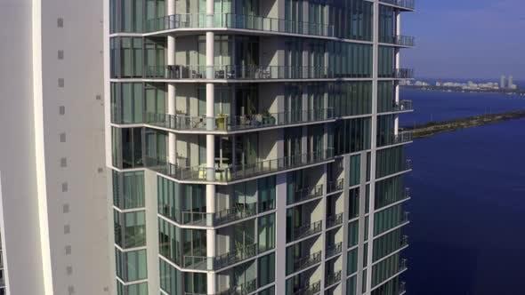 Modern Miami Balconies Aerial Tilt Down Tilt Down Reveal