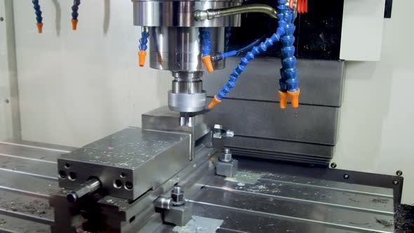 Thumbnail for Precision Milling CNC Machine Tool Makes Part.