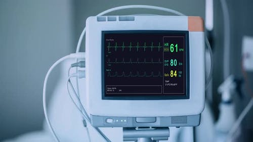 Patient Monitor Displays Vital Signs ECG Electrocardiogram EKG Oxygen Saturation SPO2 and