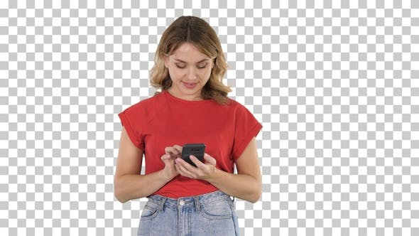 Thumbnail for Young Beautiful Woman in T Shirt Using Her Smartphone Alpha