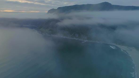 Thumbnail for A Foggy Drone Shot of Hoddevika Beach