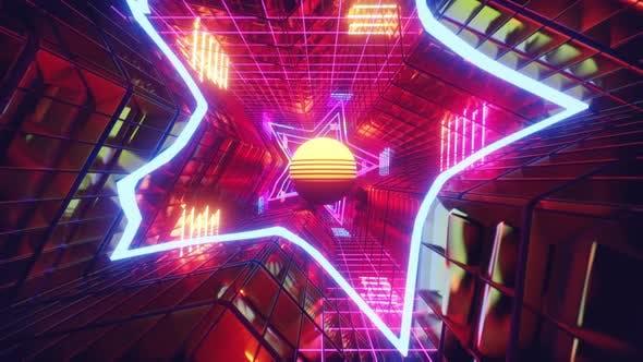 Retro Neon Light In Star 01 4K