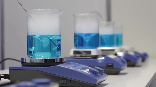 Thumbnail for Scientific Experiment in Medical Laboratory. Analysis Testing Equipment - Lab Mixer Tubes and Beaker