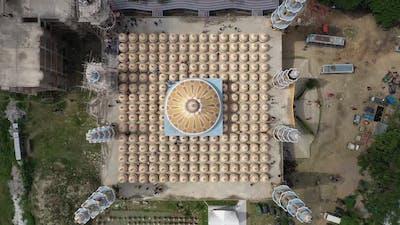 Aerial view of Gombuj Masjid mosque, Dhaka state, Bangladesh.