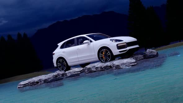 Thumbnail for White Luxury Off-Road Vehicle Standing on Rocks