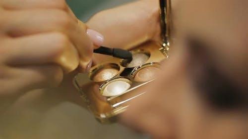 Make-Up Artist Putting Eye-Shadows on Eyelids, Sophisticated Evening Make-Up