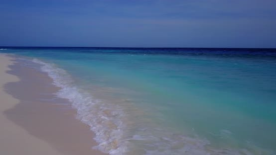 Thumbnail for Natural birds eye clean view of a summer white paradise sand beach and blue sea background