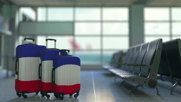 Travel Suitcases with Flag of France