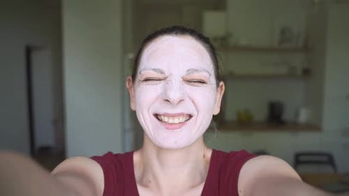 Slow Motion Video of Woman with Face Mask. Pov View. Wellbeing Self-care Routine