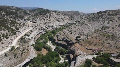 Treelined Creek Drone View Valley