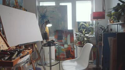 Interior of Creative Workspace of Artist