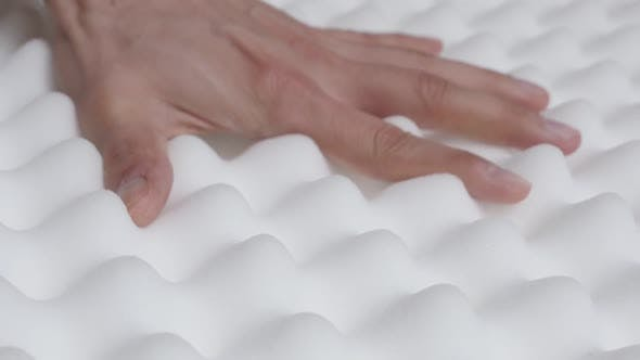 Elasticity of memory foam peak and valley mattress slow-mo 1080p HD   video - Orthopedic exaggerated