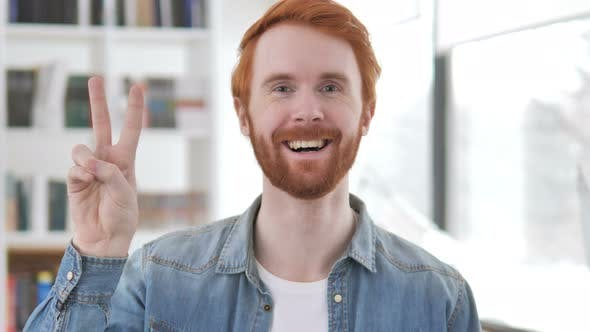 Thumbnail for Victory Sign By Positive Casual Redhead Man