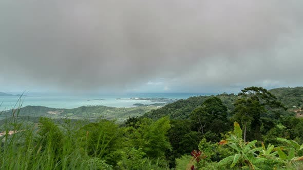 Thumbnail for View point from top of mountain for see the beach, sea and nature of Koh Samui, Thailand. Timelapse