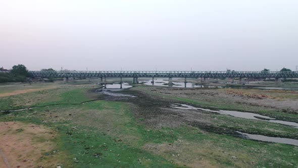 Thumbnail for Drone Flying Towards The Yamuna Bridge In Agra, India, Aerial