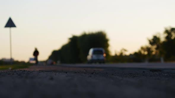 Thumbnail for Driving Truck Silhouette in Sunset Bokeh