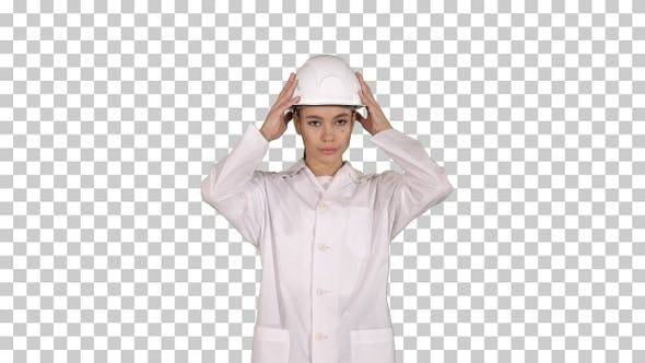 Thumbnail for Woman Engineer in White Robe and White Hard Hat Walking