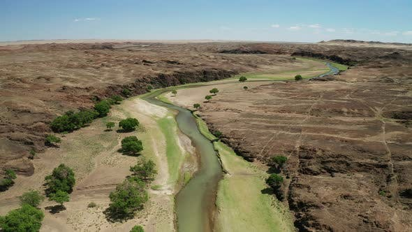 Thumbnail for Aerial Landscape View of River in Gobi Desert, Mongolia