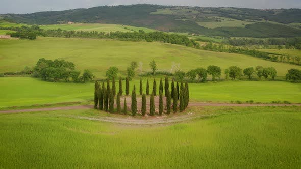 Thumbnail for Flying over the amazing rolling hills of Tuscany Italy