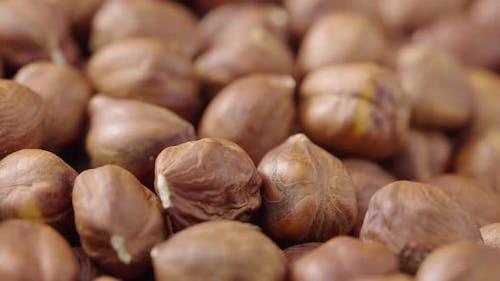 Macro Shot of the Rotating Peeled Hazelnuts