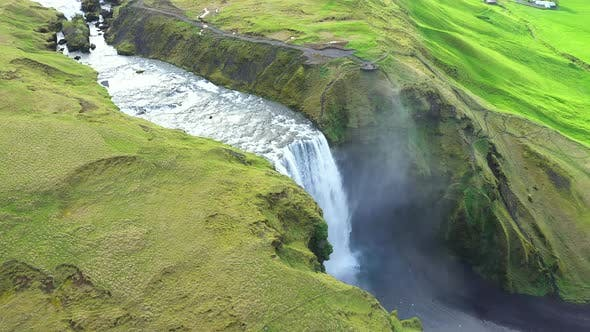 Thumbnail for Flying Above Skogafoss, Iceland's Famous Ring Road Waterfall