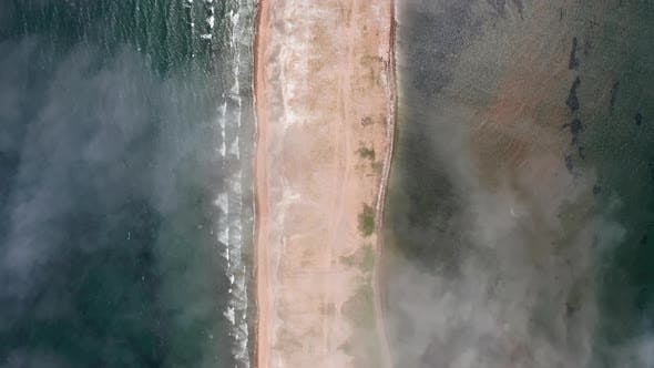 Aerial View of the Beach on the Sand Spit