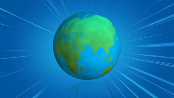 Spinning earth globe with blue comics lines