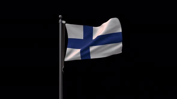 Finland Flag On Flagpole With Alpha Channel 4K