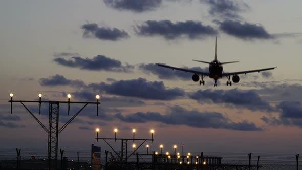 Thumbnail for Airplane Landing Sunset