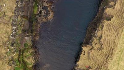 Aerial Drone Overhead Shot Of Waterway