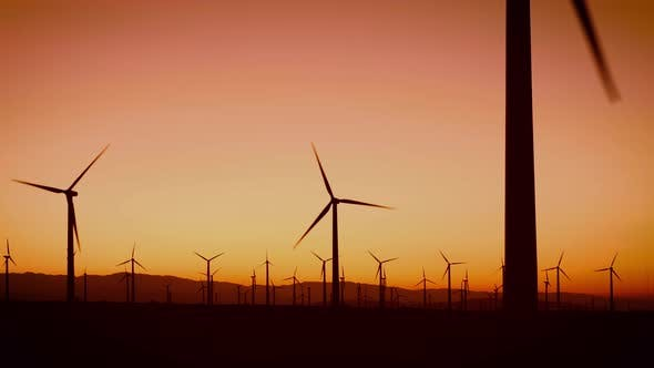 Thumbnail for Wind turbines at dawn in California