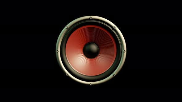Cover Image for Audio Speaker with Red Membrane Playing Modern Music Isolated on Black Background