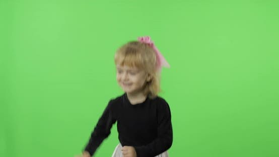 Thumbnail for Girl in Black and White Dress Dancing. Happy Four Years Old Child. Chroma Key
