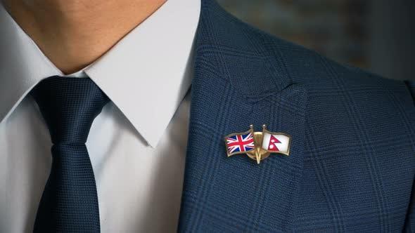 Thumbnail for Businessman Friend Flags Pin United Kingdom Nepal