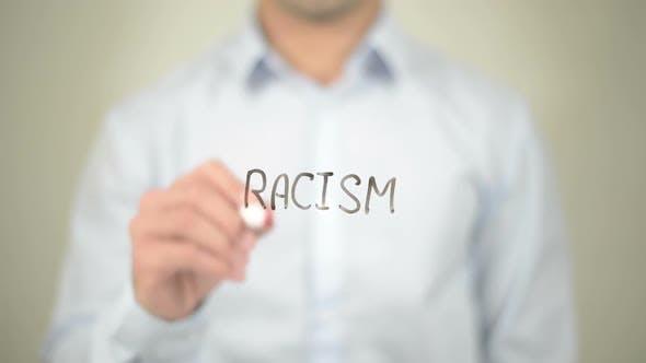 No Racism, Businessman Writing on Transparent Screen