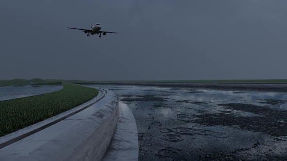 Thumbnail for Passenger Airplane Landing in Rainy Weather