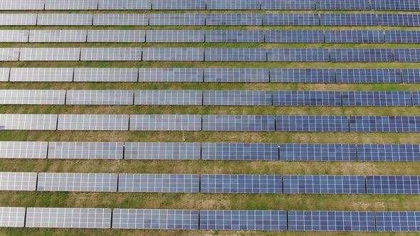 Thumbnail for Flight Over the Solar Power Station Rows Panel Glide Moving Among the Cells