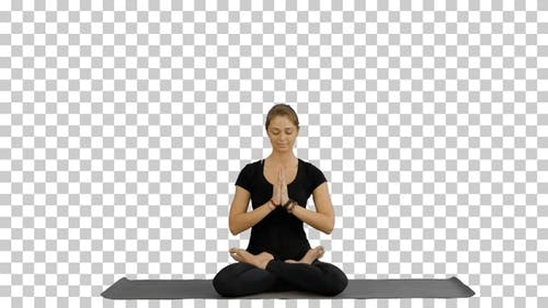 Sporty attractive woman practicing yoga, Alpha Channel
