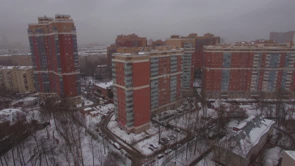 Thumbnail for Flying Over Residential Area in Winter Moscow, Russia