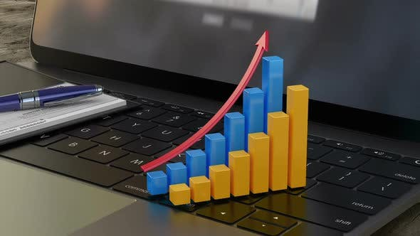 Growing 3D Financial Graph on Laptop Keyboard, Financial Statistics, Analytics