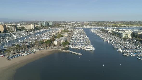 Aerial view of Marina Del Rey with the marina