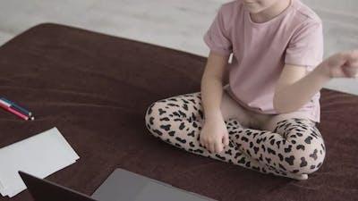 Preschooler Girl Uses Laptop