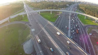 Traffic on multilevel crossing, aerial view
