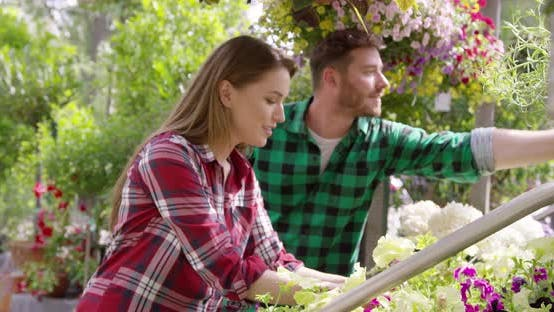Professional Male and Female Gardeners Working with Flowers in Garden
