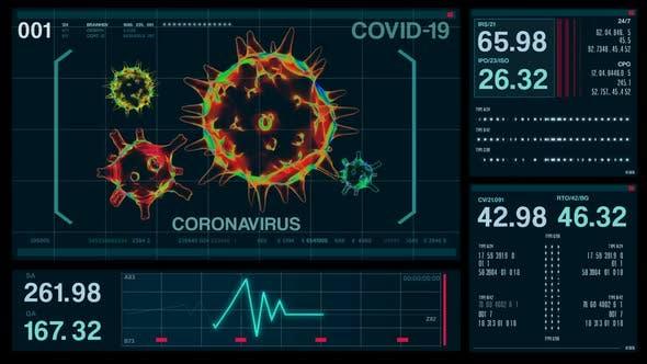 Thumbnail for Coronavirus COVID-19 Futuristic Digital Screen HUD Data, Medical Background